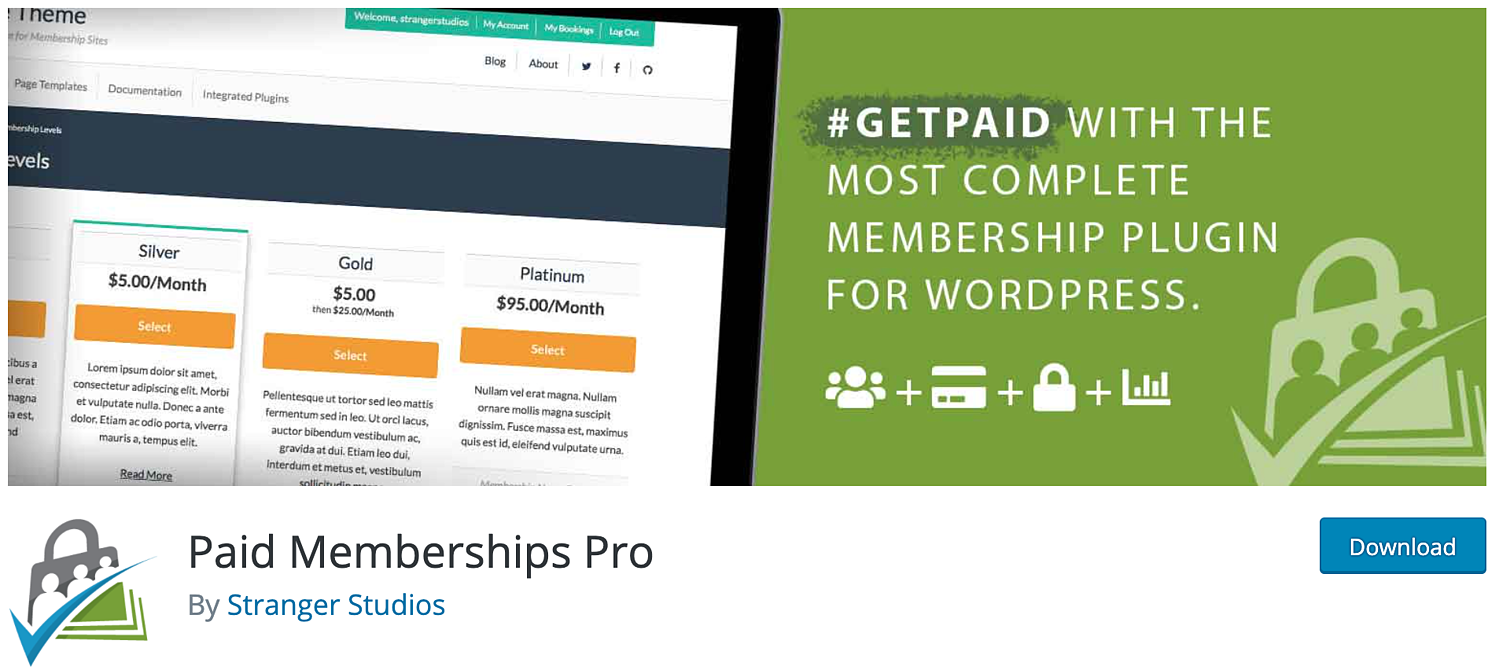 download page for the WordPress membership plugin Paid Memberships Pro