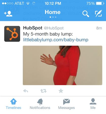 Pam Bump baby bump photo on HubSpot's Twitter account