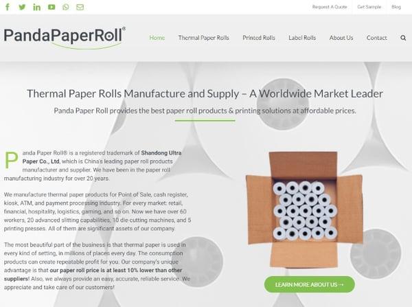 panda paper roll homepage - example of avada website