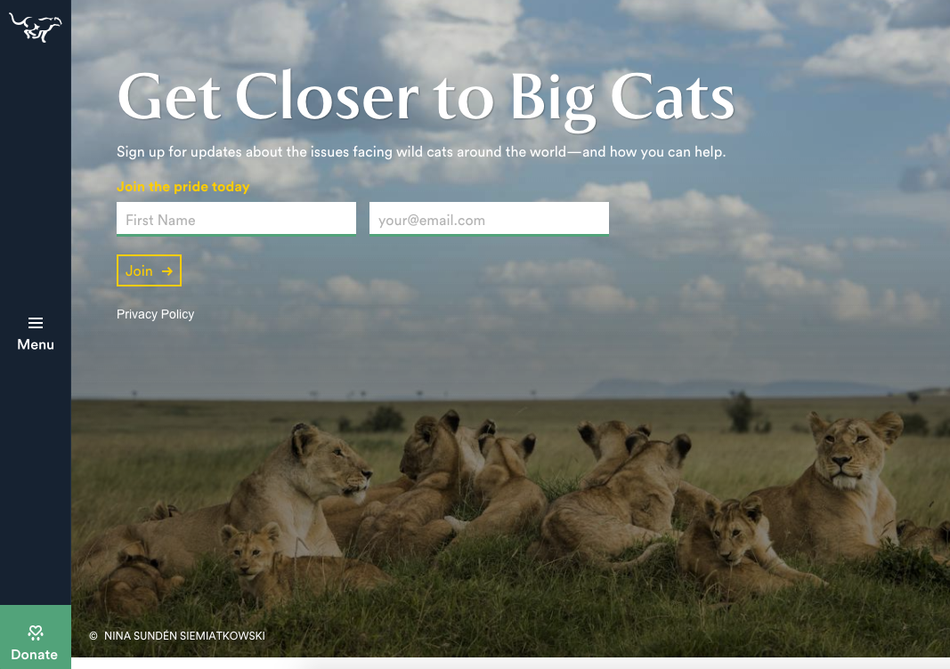 Panthera call to action button