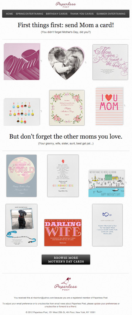 """Email Marketing Campaign Example: Paperless Post - """"You didn't forget Mother's Day, did you?"""""""
