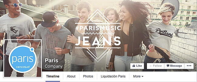 Parisian Facebook cover photo with mixed profile photo