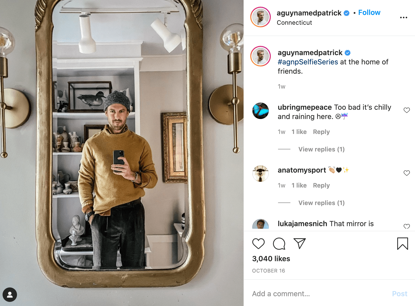@aguynamedpatrick instagram picture of himself in mirror holding a phone taking a picture of himself