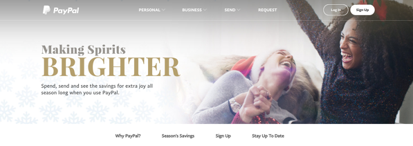Paypal vacation homepage