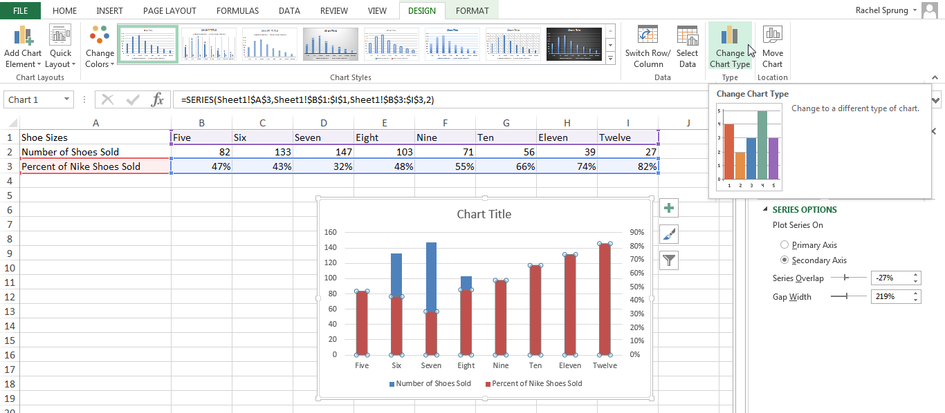 excel how to make x axis into percentage