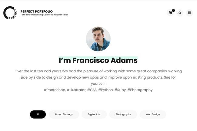 WordPress graphic design portfolio theme by Perfect Portfolio
