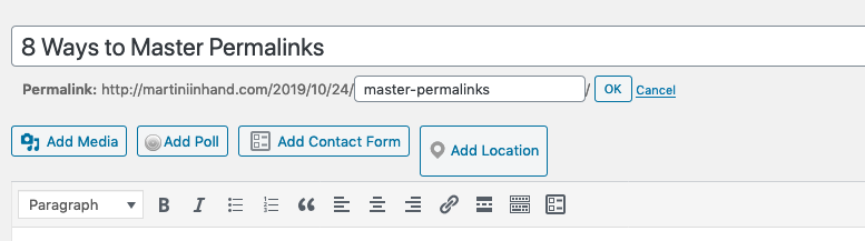 The permalink section on WordPress's post page.