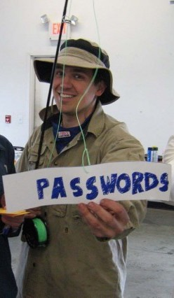 Email phishing halloween costume bait with fishing rod with password label
