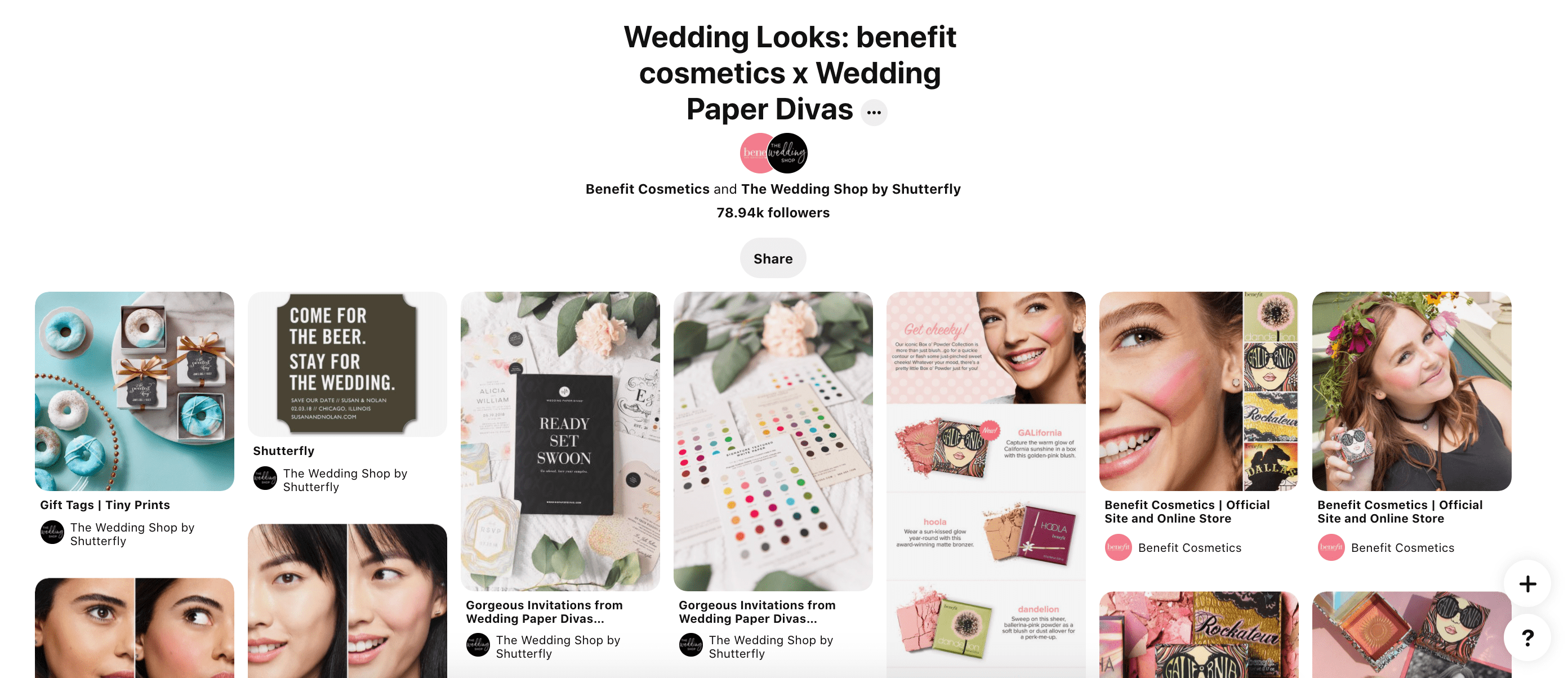 A Pinterest page that showcases a partnership between benefit cosmetics and shutterfly for weddings