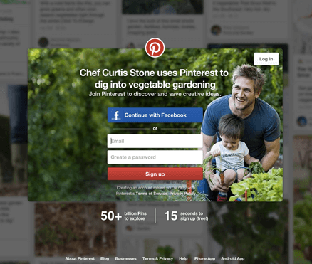 Pinterest signup call to action button