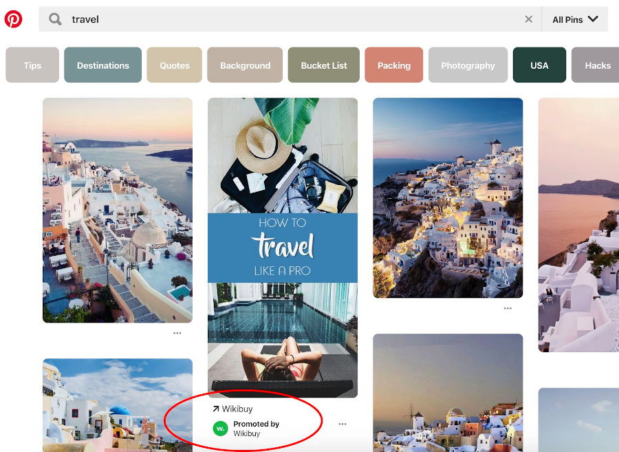 page displaying Pinterest Promoted pin