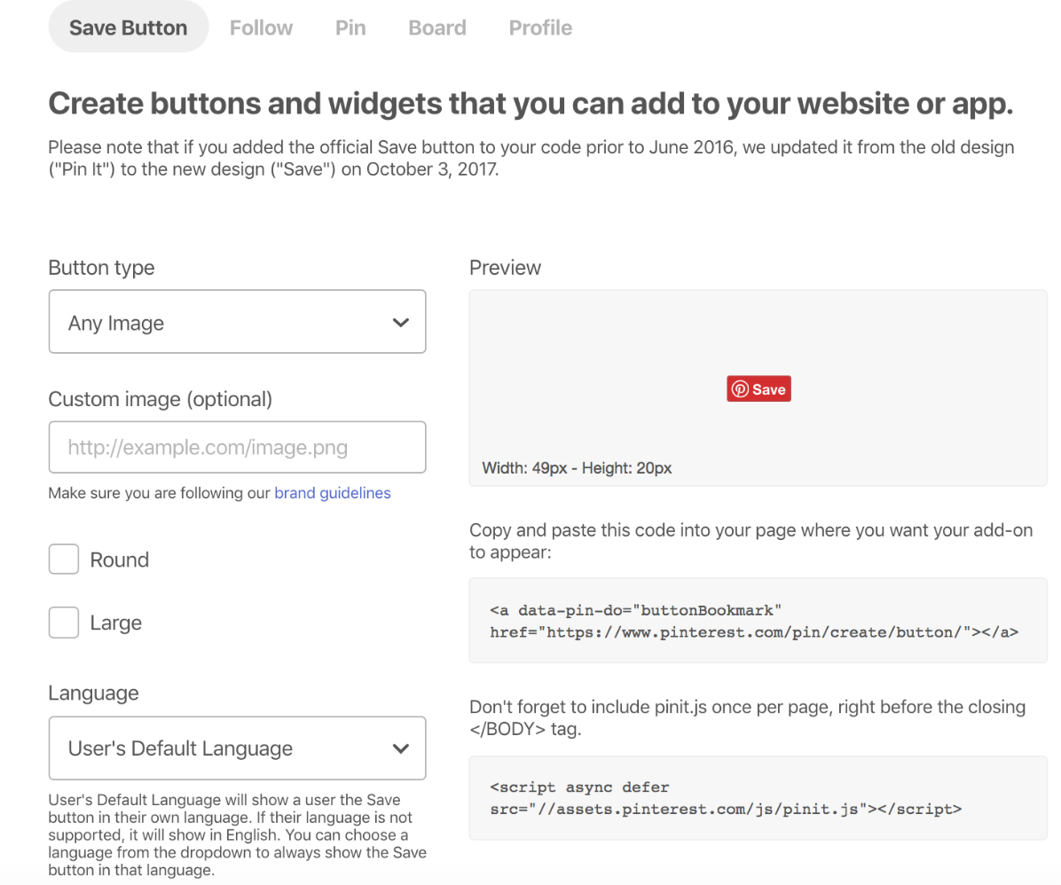 pinterest button and widget