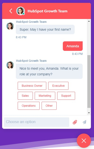pipeline ops chat bot example asking for first name and company role at the beginning of the conversation