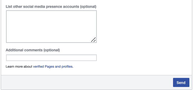 the section of the form that asks you to include social media accounts or additional comments
