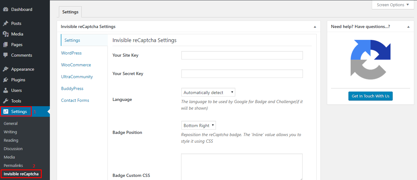 dashboard settings to control spam integrating google invisible recaptcha wordpress site