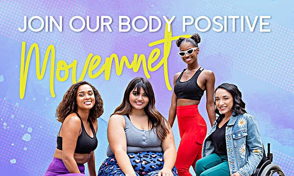 "POP Fit brand banner that shows diverse models with the slogan ""join our body positive movement"""