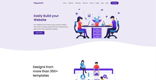 PopularFX drag-and-drop theme home page