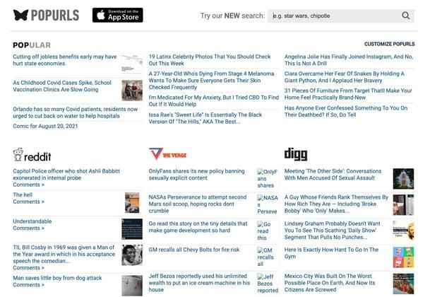 صفحه اصلی وب سایت جمع آوری اطلاعات و وبلاگ popurls