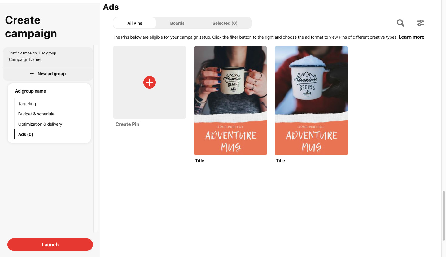 Start the pinterest a / b test campaign