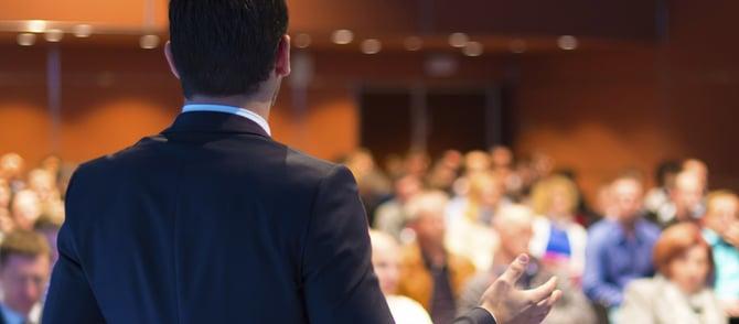 an employee gives a presentation