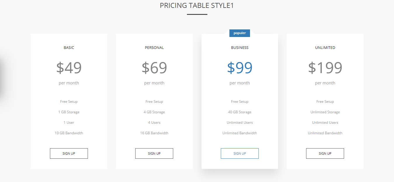 an example of pricing tables using wpbakery plugin add-on