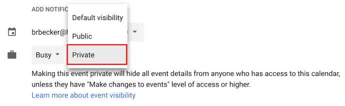 Dropdown menu for making an event private in Google Calendar