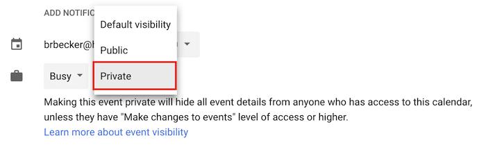 Bir etkinliği Google Takvim'de özel kılmak için açılan menü