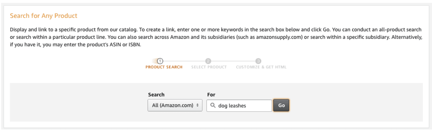 product search for how to add Amazon affiliate links to WordPress posts