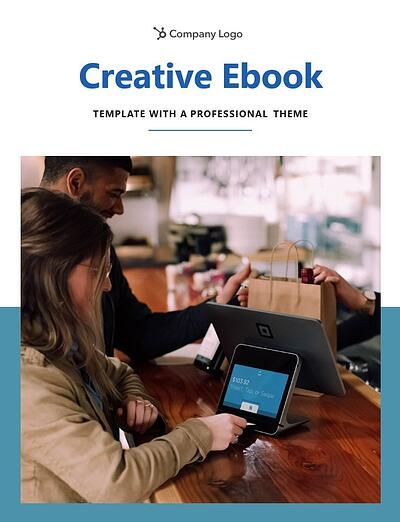 "example page from the professional theme that reads ""creative ebook template with a professional theme"" along with a photo in the center and banded blue background"