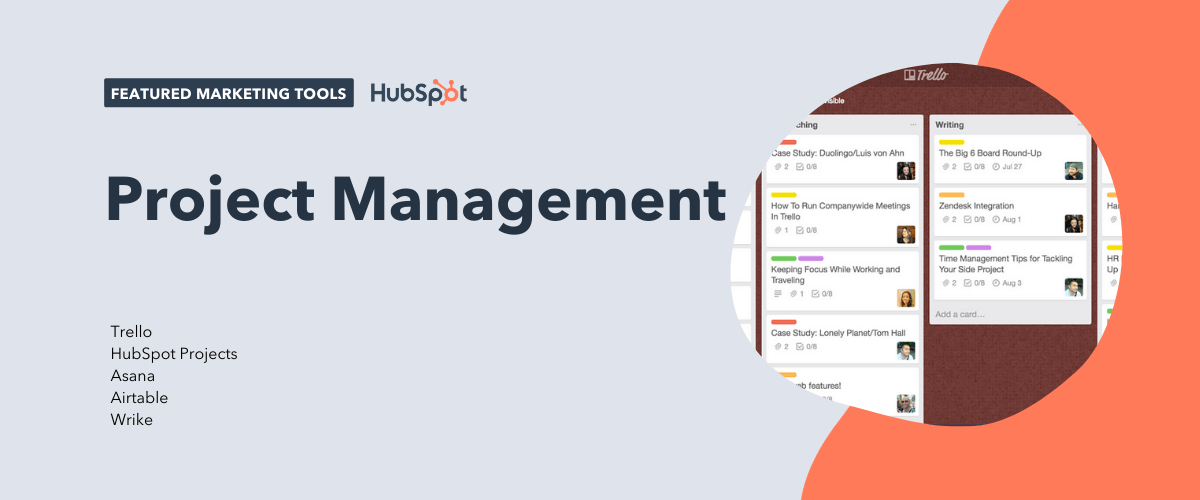 project management tools, including trello, hubspot projects, asana, airtable, and wrike