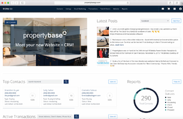 Propertybase real estate CRM in dashboard view with reports and latest posts