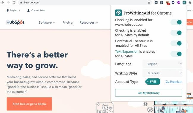 افزونه ProWritingAid Chrome