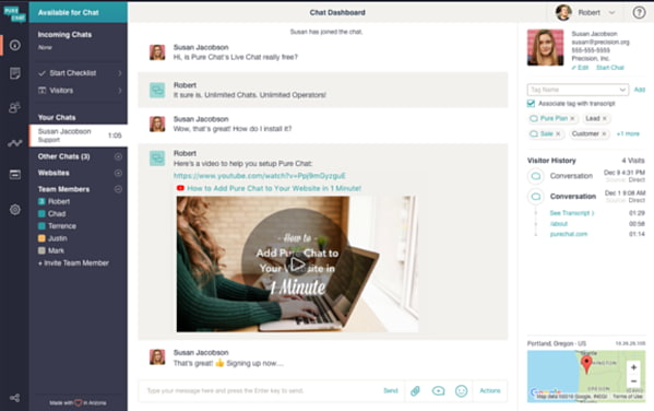 Live chat app Pure Chat as seen from the customer service representative's view
