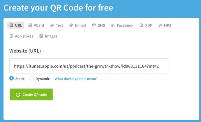 QR code URL form