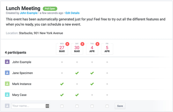 Group scheduling tool by Rallly