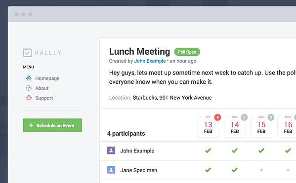 Rallly meeting scheduler for large groups of people - meeting host view