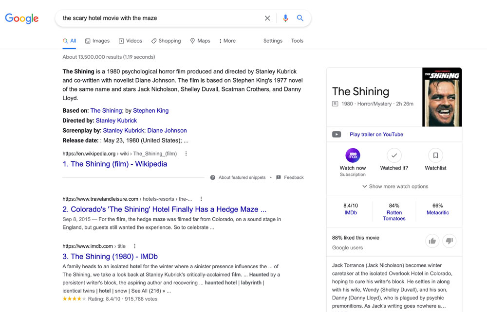 an example of rankbrain delivering relevant search results for the search term 'the scary hotel movie with the maze' (the shining)