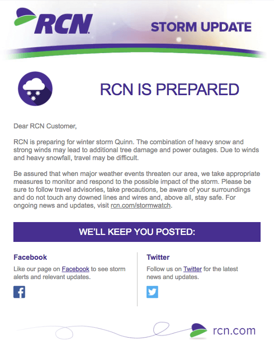 Email marketing campaign example by RCN alerting user of winter storm updates