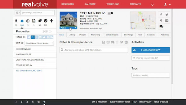Realvolve real estate CRM in property view