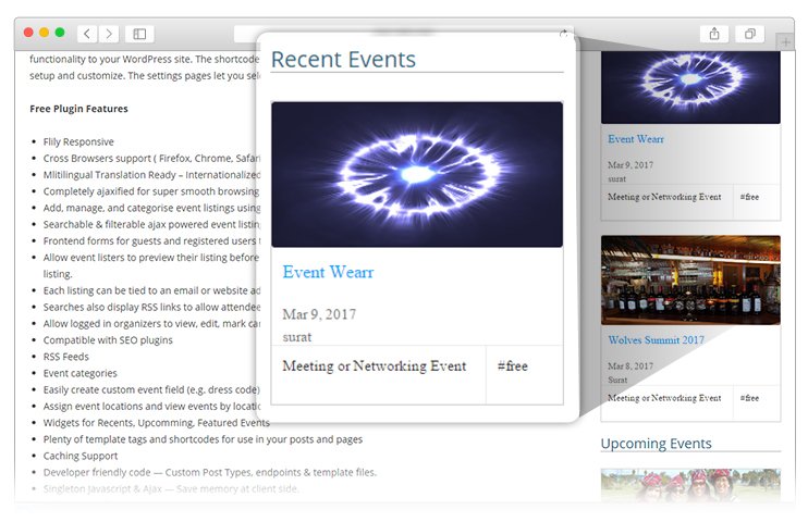 recent event widget on WP Event Manager plugin review
