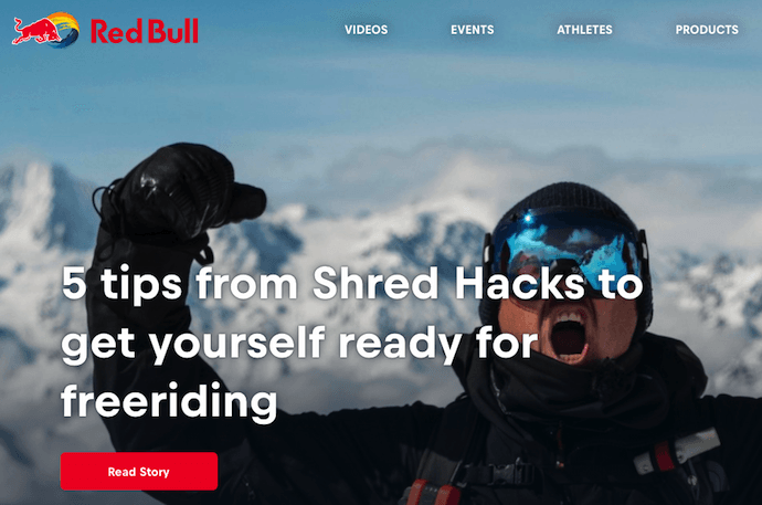 Homepage del blog Red Bull con una campagna di marketing digitale incentrata sugli sport estremi