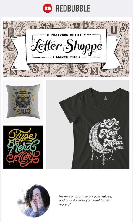 """Email Marketing Campaign Example: RedBubble - """"Featured Artist: Letter Shoppe"""""""