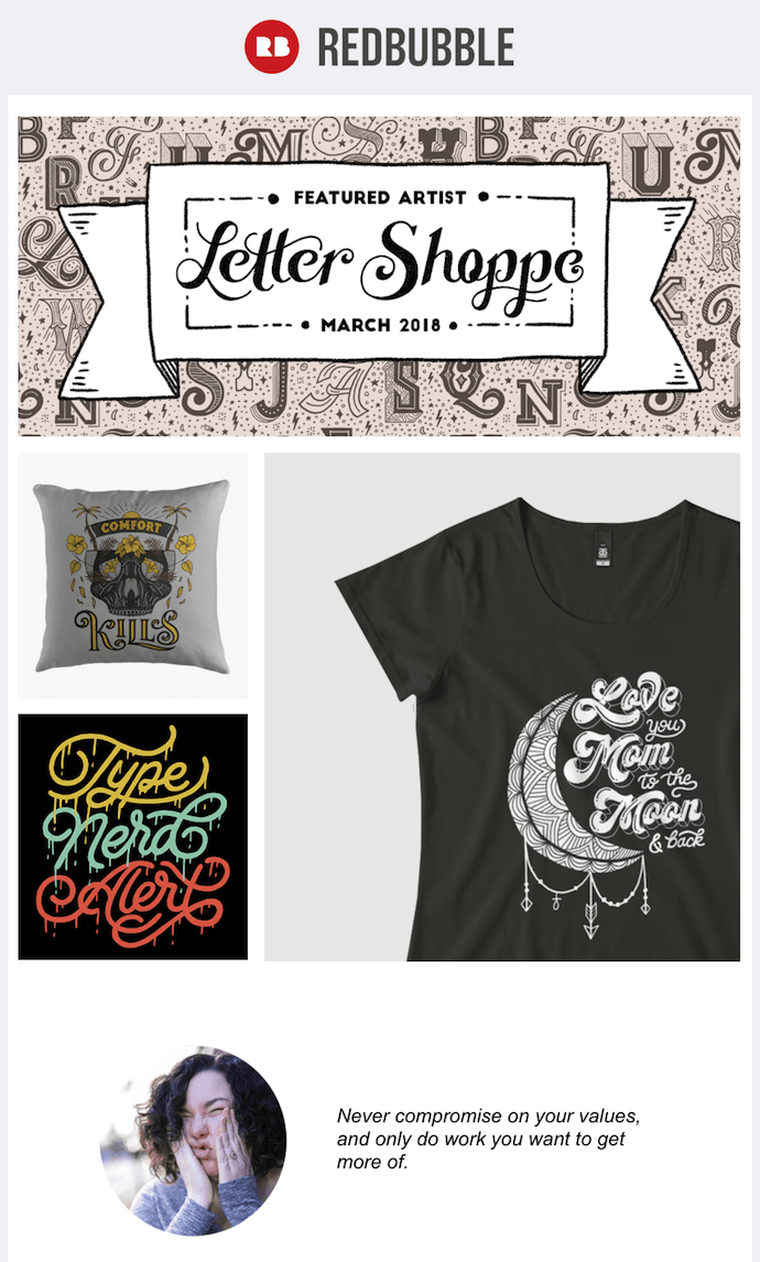 Email marketing campaign example by RedBubble promoting a Featured Artist