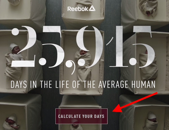 Graphic for Reebok video marketing campaign called 25,915 Days