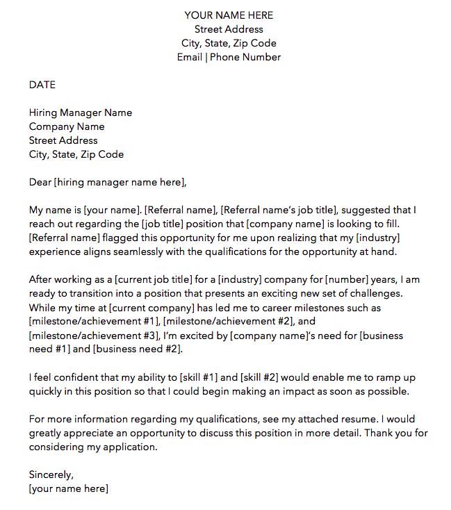 business letter for job application