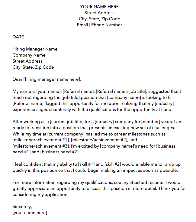 Referral cover letter template