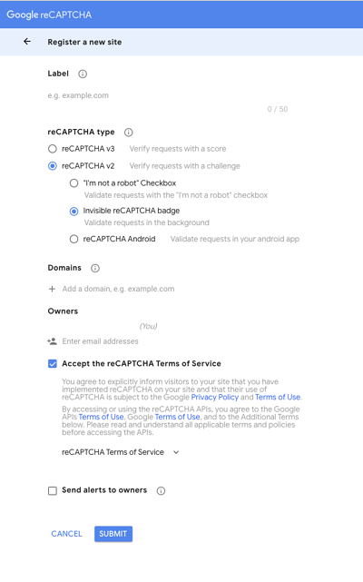register new site to control spam integrating google invisible recaptcha wordpress site