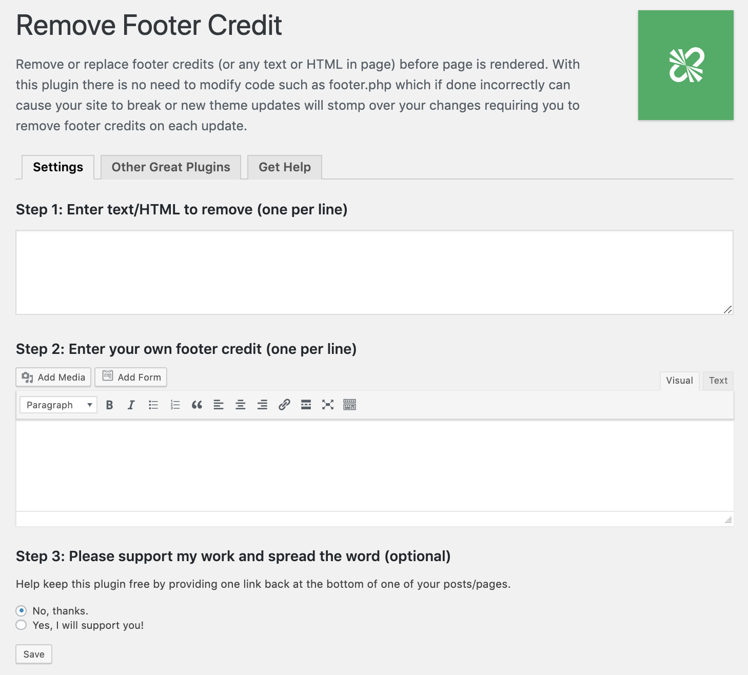 remove footer credit settings on how to edit footer in WordPress