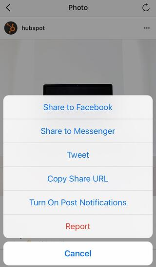 Mobile option to copy the share url of an Instagram post