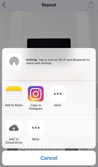 Botón móvil para copiar a Instagram